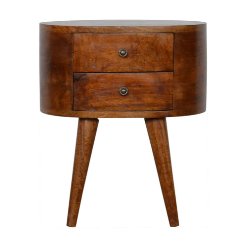 Dark wood bedside table with drawers