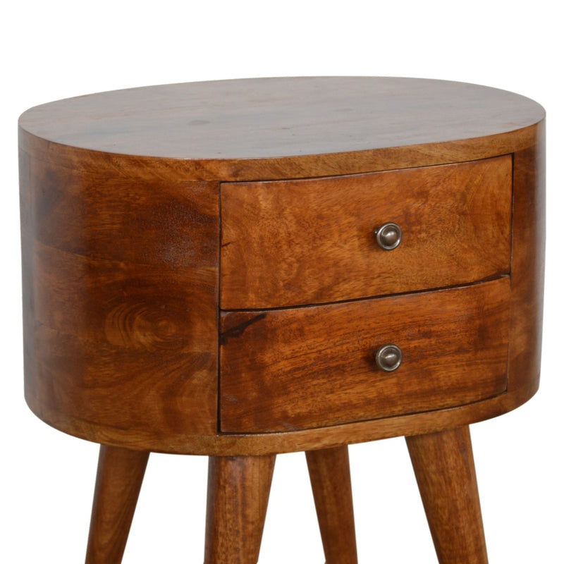Dark wood round bedside table with drawers