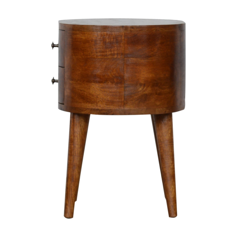 Handmade Dark Wood Round Bedside Table