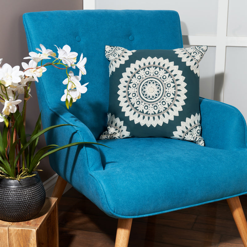 Embroidered cushion tufted cushion bohemian cushions Indian cushions ethnic decorative pillow square pillow case teal green cushion cover 45 x 45 cm mandala cushion 18 x 18 cushion cover cotton morrocon decorations for home sofa throw pillow UK online