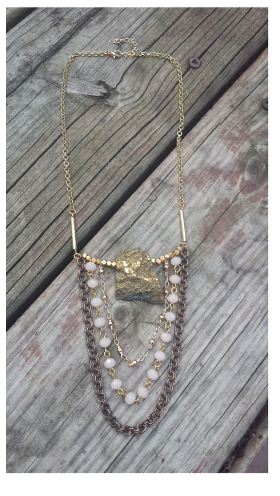 Golden Nugget Waterfall Necklace