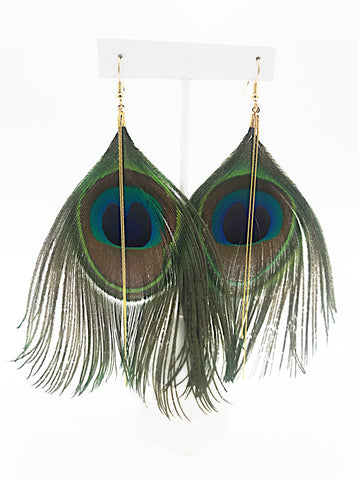 Peacock Plume Tassel Earrings