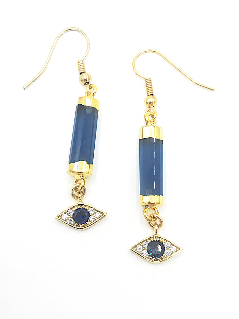 Evil Eye Bar Earrings