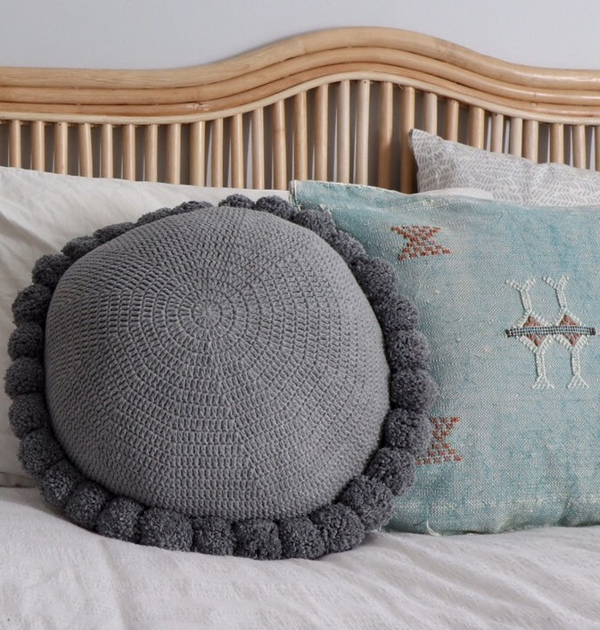 Grey Marle Pom Pom Cushion