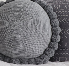 Load image into Gallery viewer, Grey Marle Pom Pom Cushion