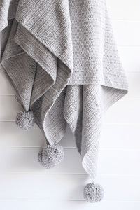 Light Grey Pom Pom Throw