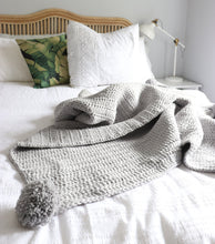 Load image into Gallery viewer, Light Grey Pom Pom Throw
