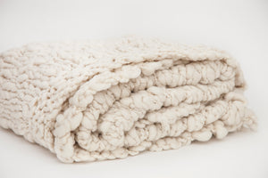 White Chunky Knit Throw
