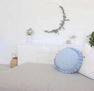 Powder Blue Pom Pom Cushion