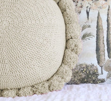 Load image into Gallery viewer, Light Tan Pom Pom Cushion