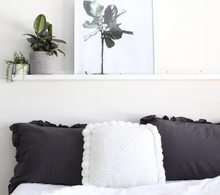 Load image into Gallery viewer, White Square Pom Pom Cushion