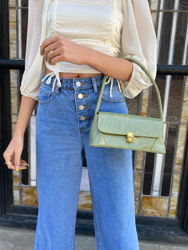 sage green shoulder bag