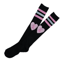 Load image into Gallery viewer, Black Heart Ribbon Knee High Socks