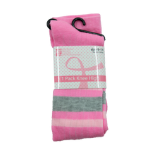 Load image into Gallery viewer, Pink Ribbon (Pink/Grey Stripes) Knee High Socks