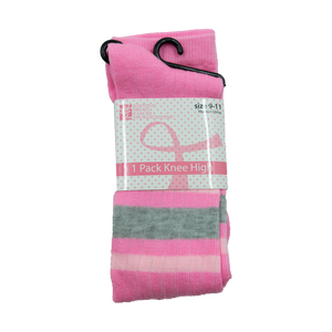 Pink Ribbon (Pink/Grey Stripes) Knee High Socks