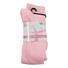 Load image into Gallery viewer, Light Pink Ribbon (White/Grey Stripes) Knee High Socks