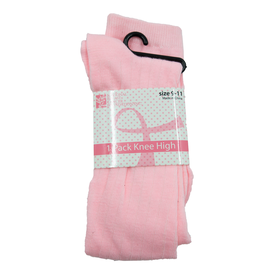 Light Pink Ribbon (White/Grey Stripes) Knee High Socks
