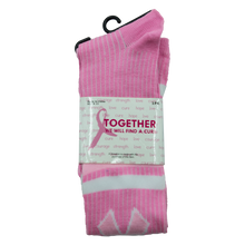 Load image into Gallery viewer, Pink Ribbon (White/Pink Stripes) Knee High Socks