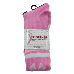 Pink Ribbon (White/Pink Stripes) Knee High Socks