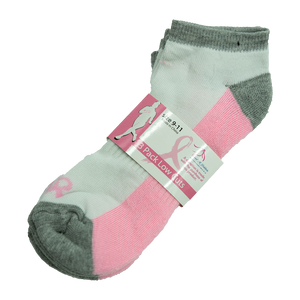 3 Pack Low Cut Sock Bundle (White, Pink, Grey w/Pink Bottom)
