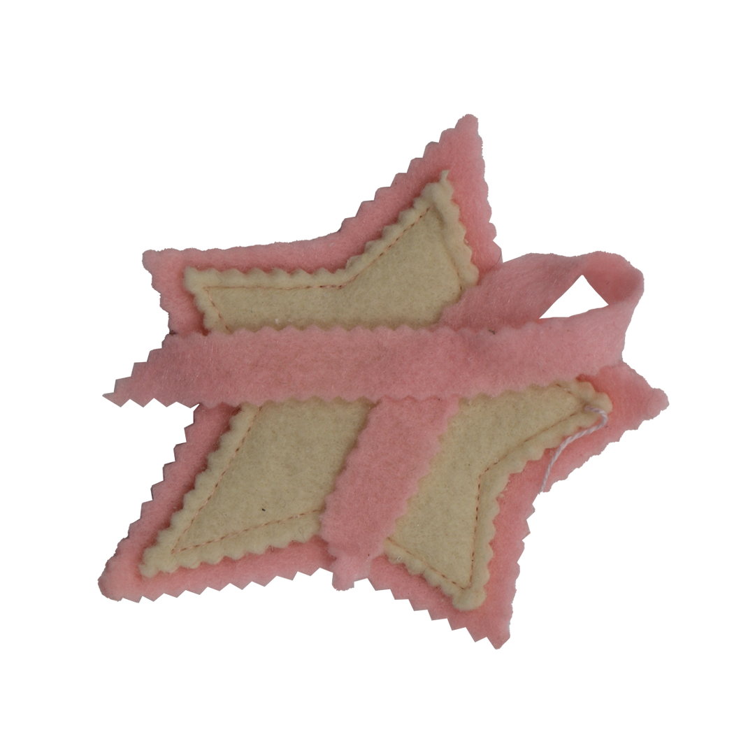 Handmade Star Ornament W/ Pink Ribbon