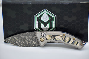 Heretic Custom Medusa Ivory Inlays Ball Bearing Damascus