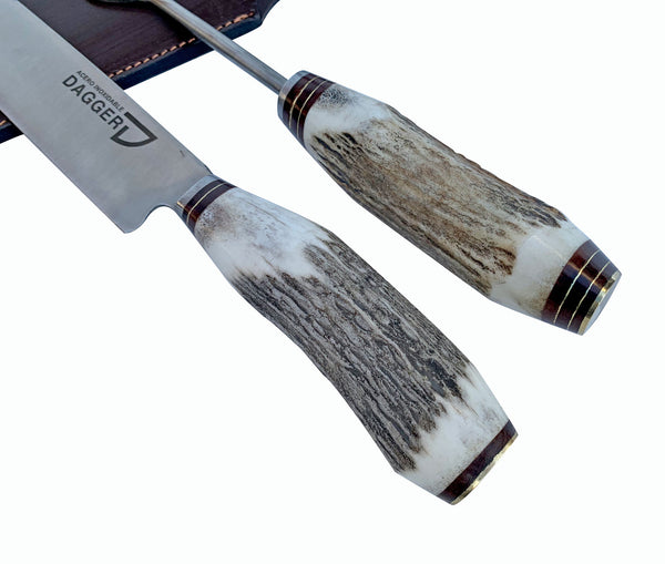 Carving Knife & Fork Set with deer handle traditional made in Argentina