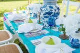 Hand painted blue gingham linen