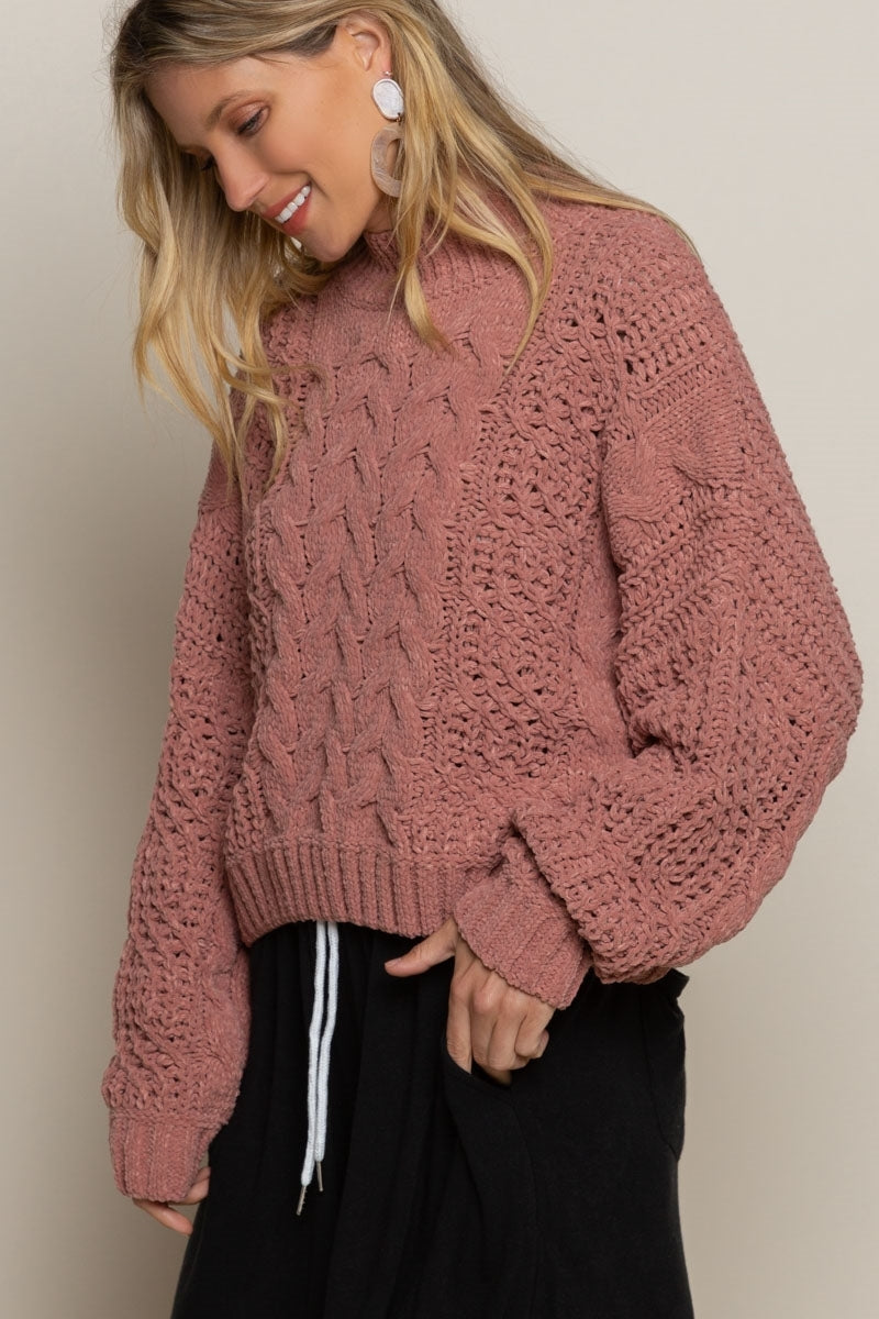 Warm Embrace Chenille Sweater - Rose