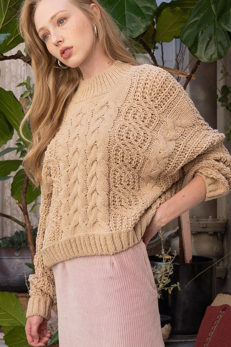 Warm Embrace Chenille Sweater - Soft Camel