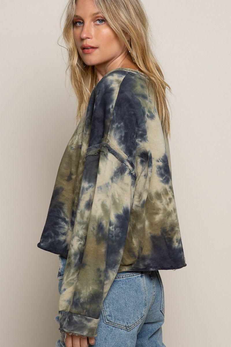 Eleah Cotton Cropped Tie Dye Pullover
