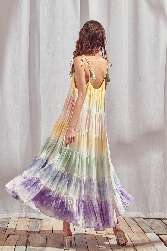 Sunset Tie Dye Color Block Maxi Dress