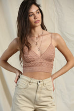 Elle Woven Lace Crop Top - Clay
