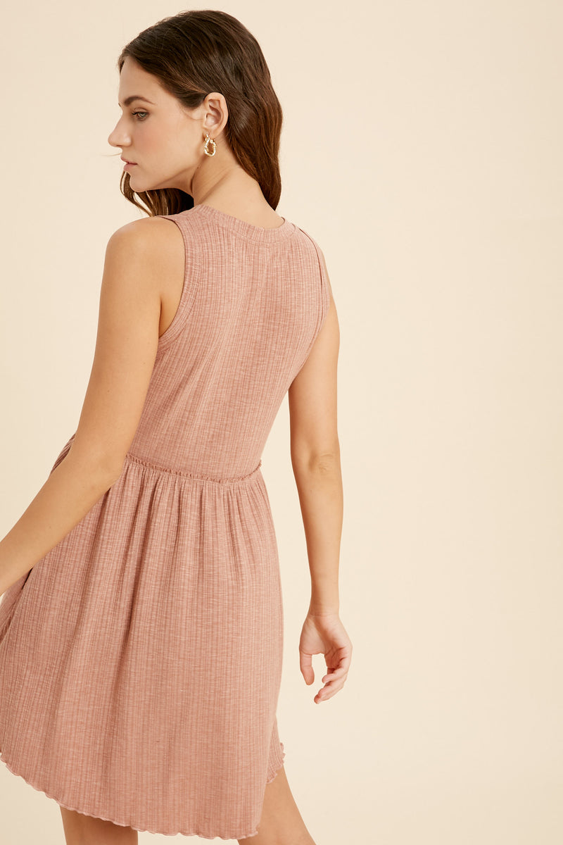 Eloise Ribbed Babydoll Dress