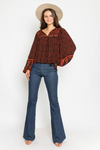 Jaclyn Patchwork Balloon Sleeve Blouse
