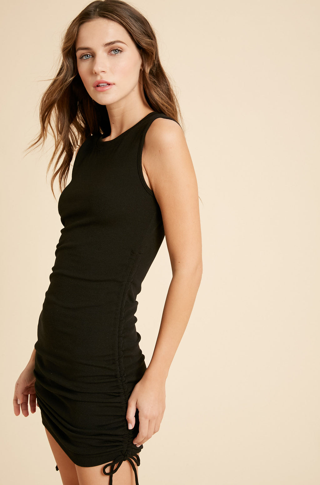 Addison Ruched Knit Dress - Black