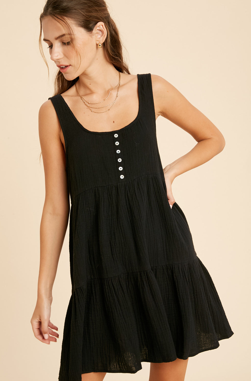 Gilly Cotton Babydoll Dress - Black