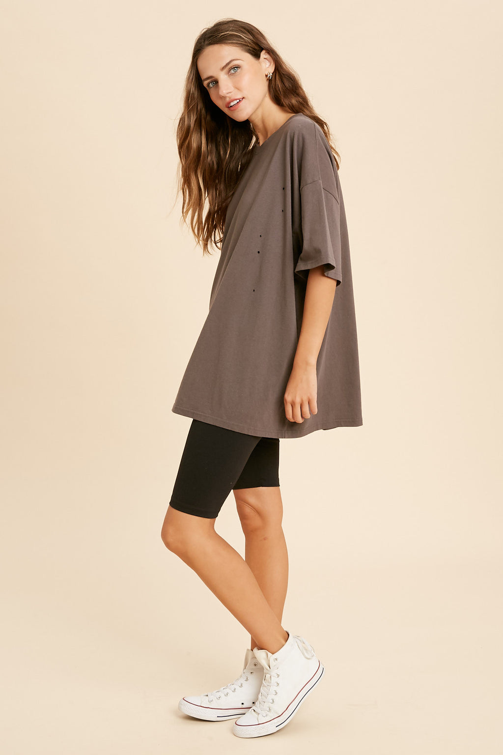 Her Oversized Distressed Tee - Charcoal