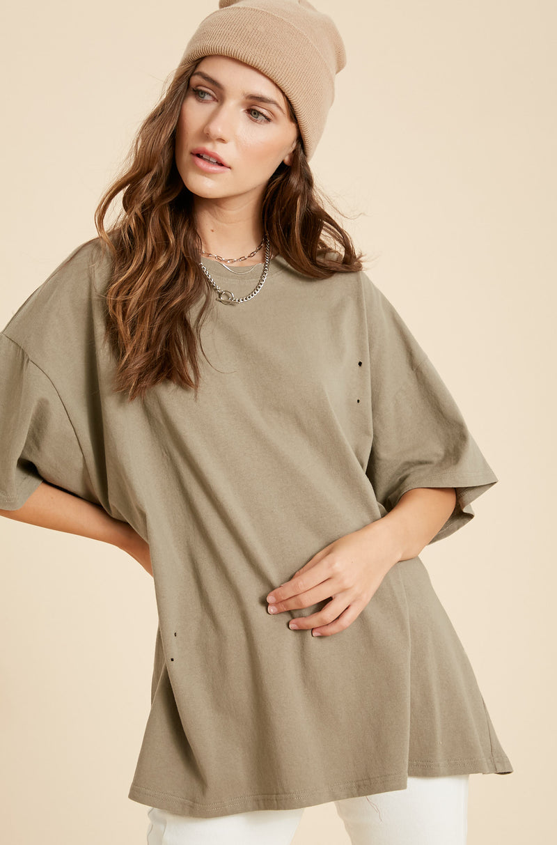 Her Oversized Distressed Tee - Olive
