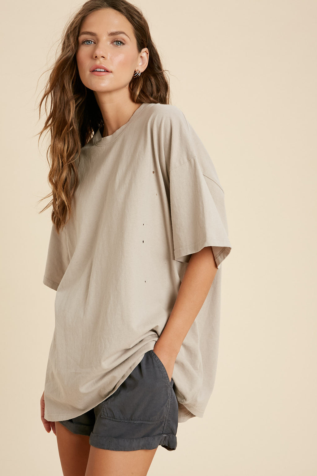 Her Oversized Distressed Tee - Stone