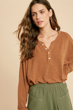 Gigi Relaxed Henley Top - Camel