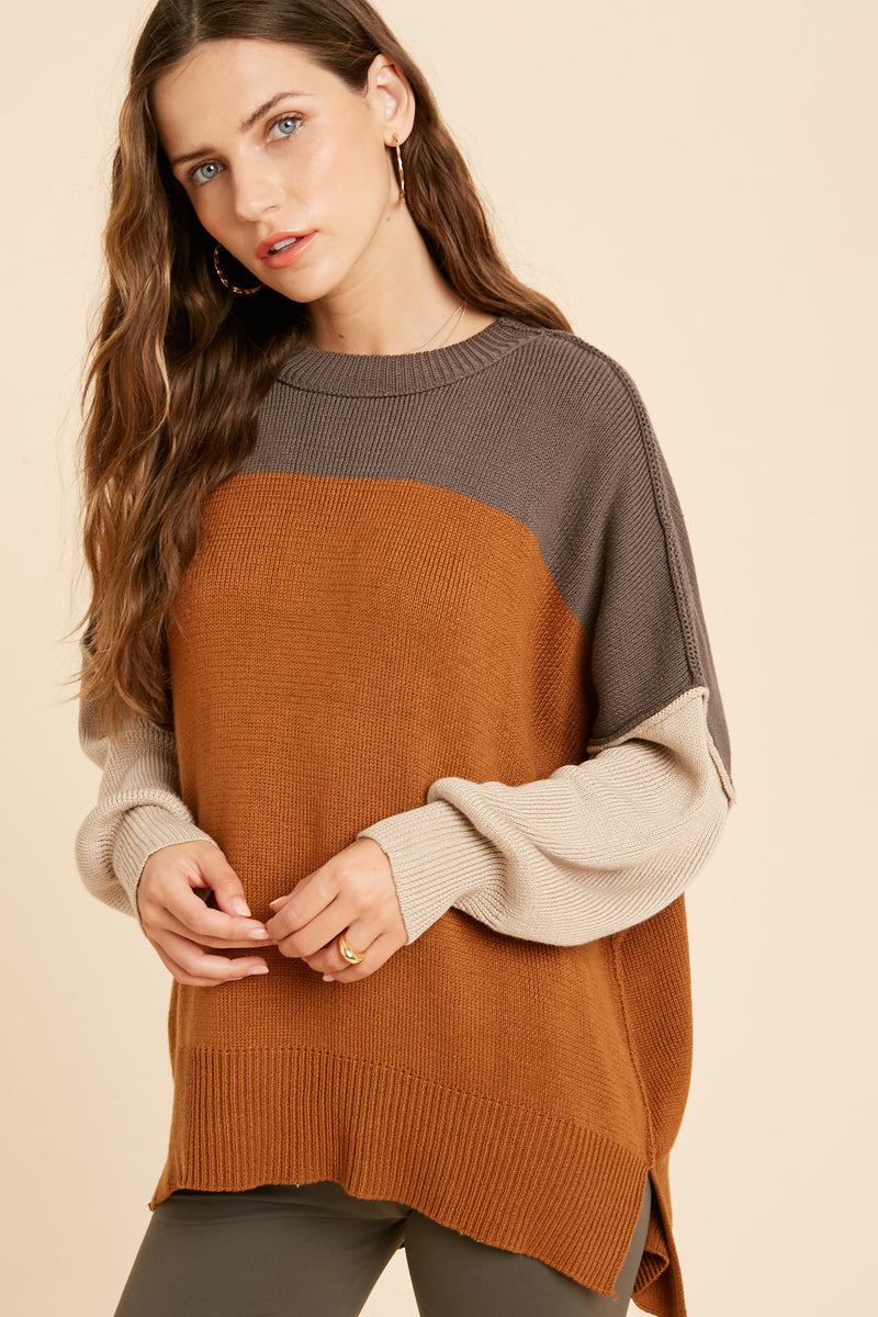 Gracie Colorblock Knit Sweater - Charcoal