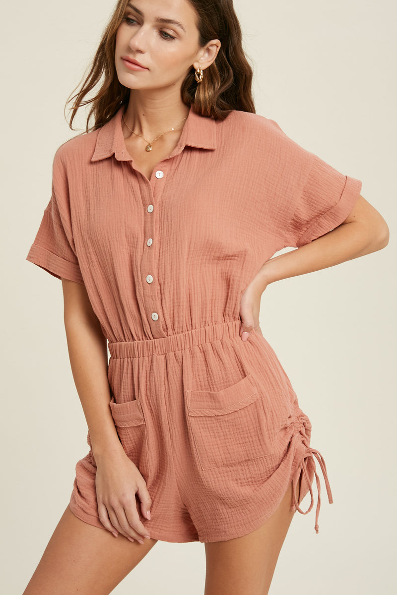 Kylie Cotton Pocketed Ruched Romper