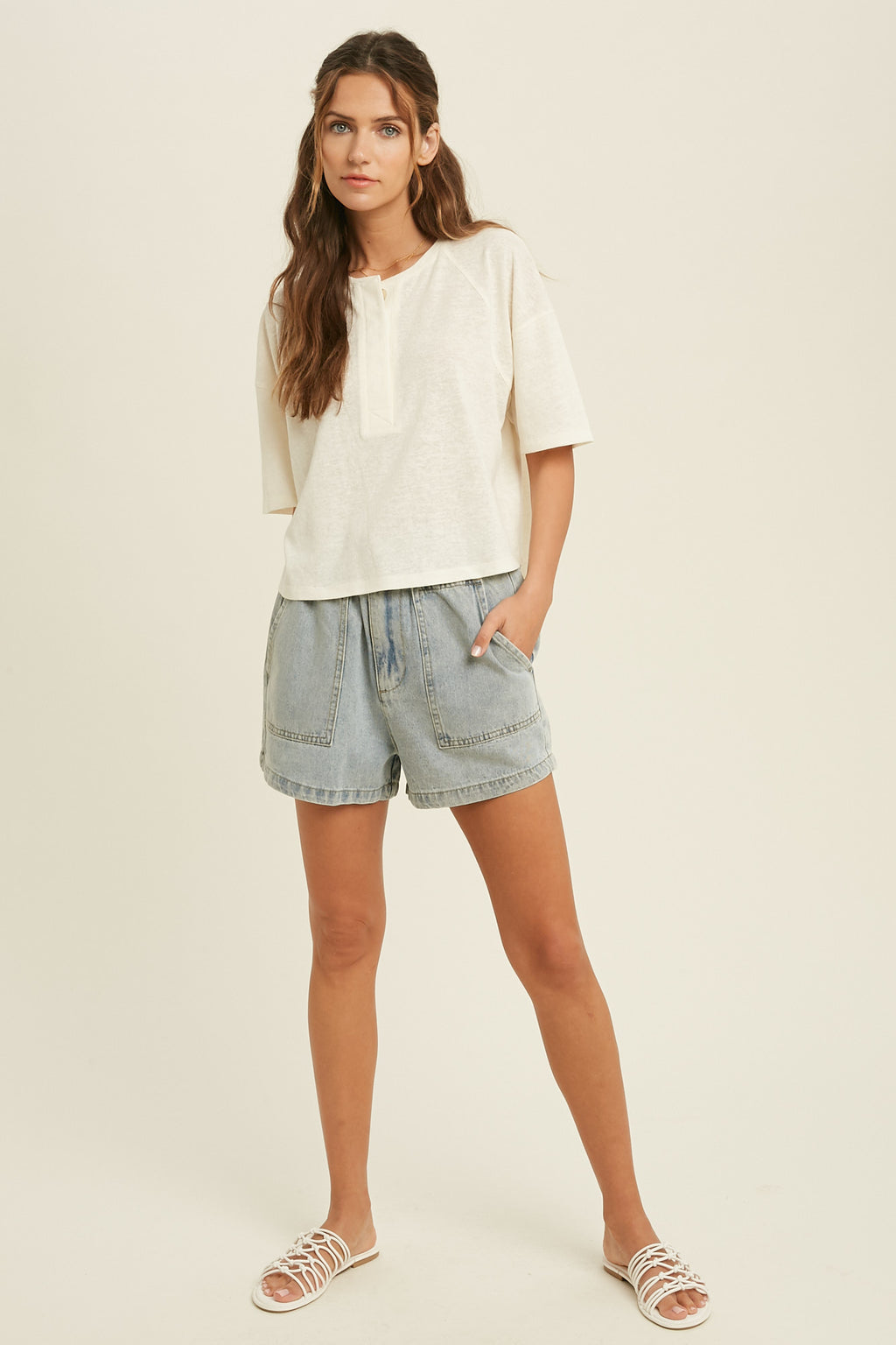 Drew Cotton Relaxed Button Down Tee - Cream