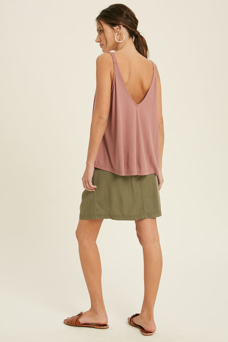 Besos Ribbed Flowy Tank Top - Mauve