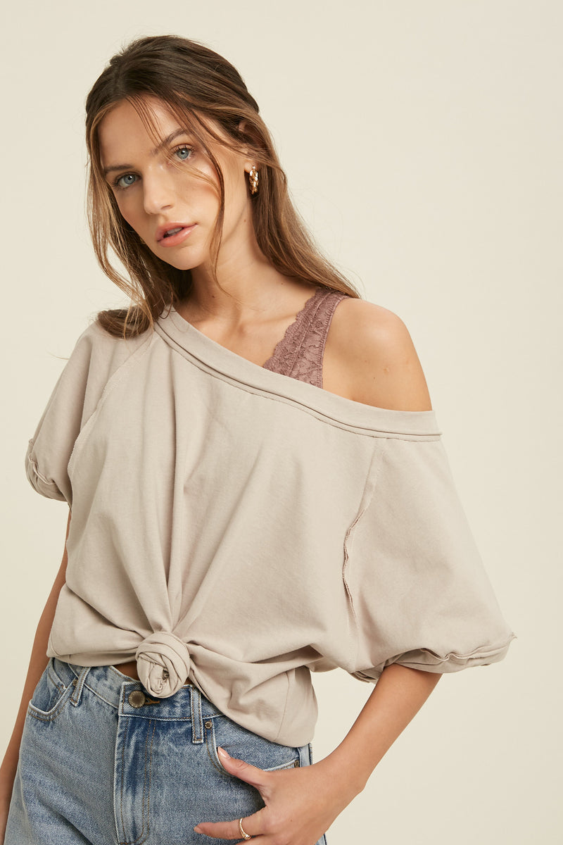Kelso Boat Neck Cuffed Sleeve Top - Shell