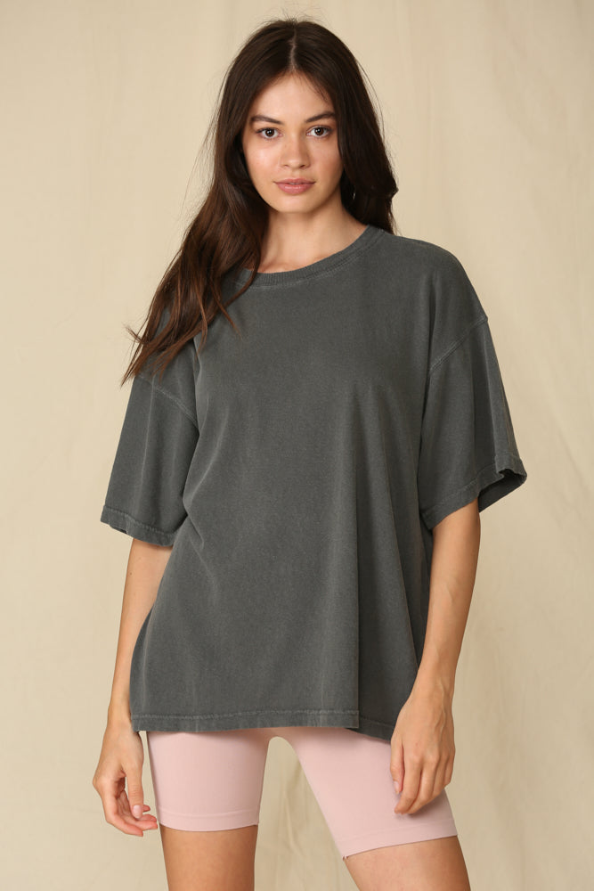 Mineral Washed Oversized Tee - Charcoal