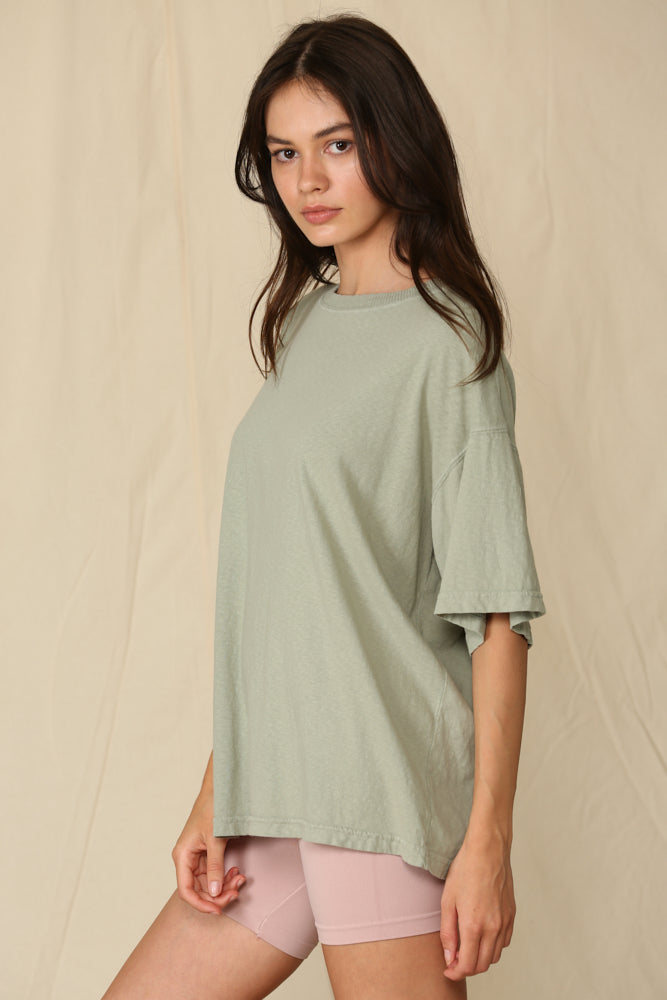 Mineral Washed Oversized Tee - Sage