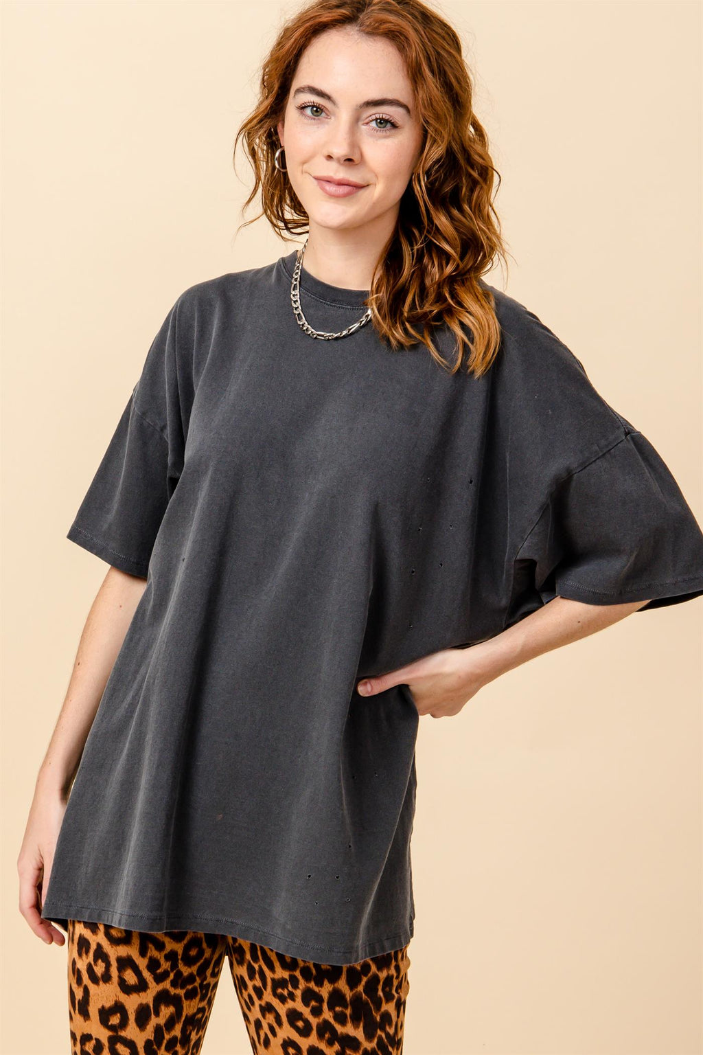 Bailey Oversized Distressed Tee - Charcoal