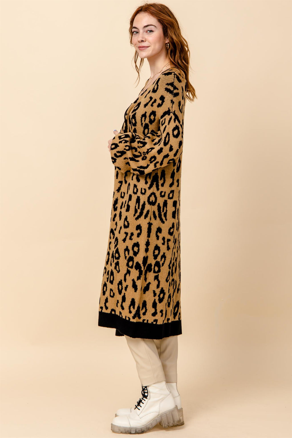 Leopard Pocketed  Duster Cardigan